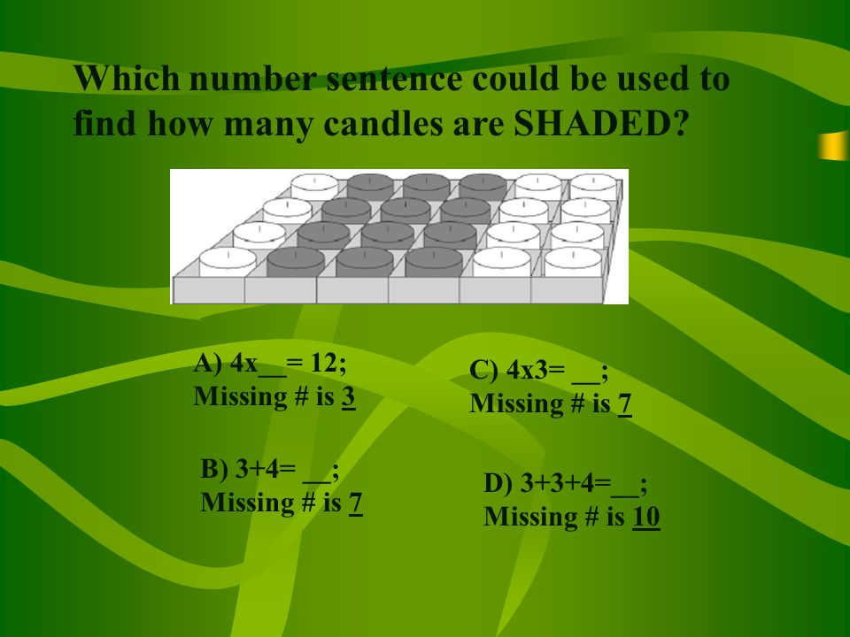 Which number sentence could be used to find how many candles are SHADED.