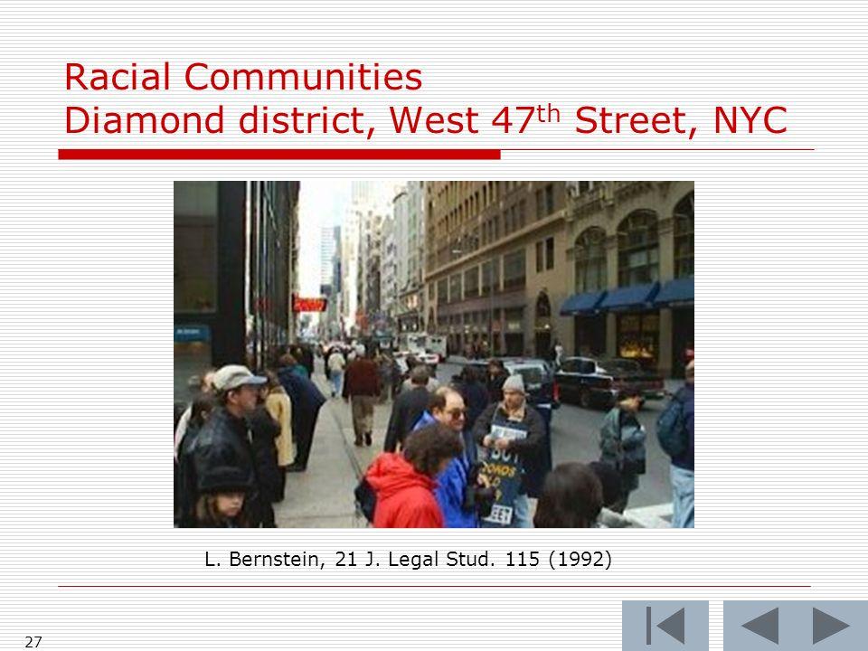 27 Racial Communities Diamond district, West 47 th Street, NYC L. Bernstein, 21 J. Legal Stud. 115 (1992)
