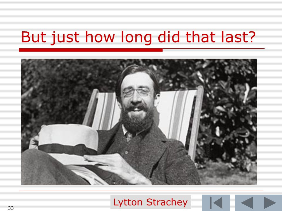 But just how long did that last 33 Lytton Strachey