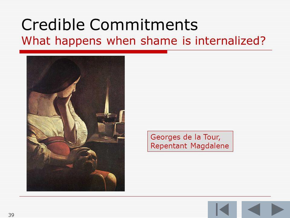 Credible Commitments What happens when shame is internalized? 39 Georges de la Tour, Repentant Magdalene