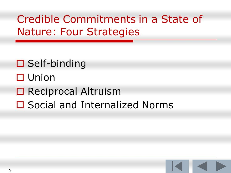 5 Credible Commitments in a State of Nature: Four Strategies Self-binding Union Reciprocal Altruism Social and Internalized Norms