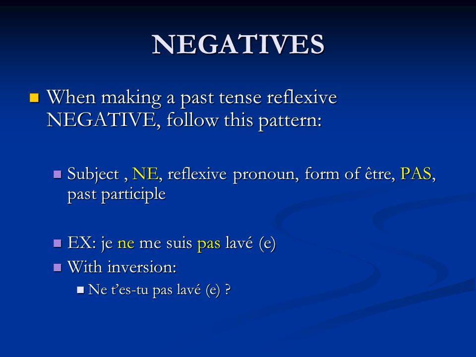 NEGATIVES When making a past tense reflexive NEGATIVE, follow this pattern: When making a past tense reflexive NEGATIVE, follow this pattern: Subject,