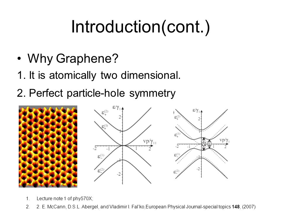 Introduction(cont.) Why Graphene. 1. It is atomically two dimensional.