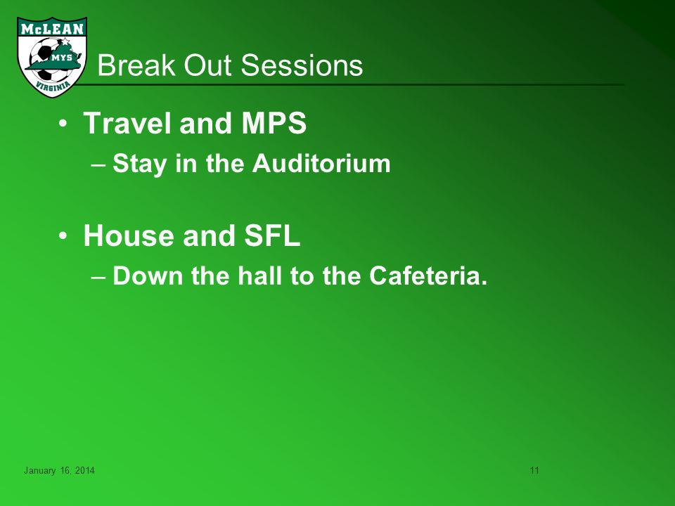 January 16, Break Out Sessions Travel and MPS –Stay in the Auditorium House and SFL –Down the hall to the Cafeteria.