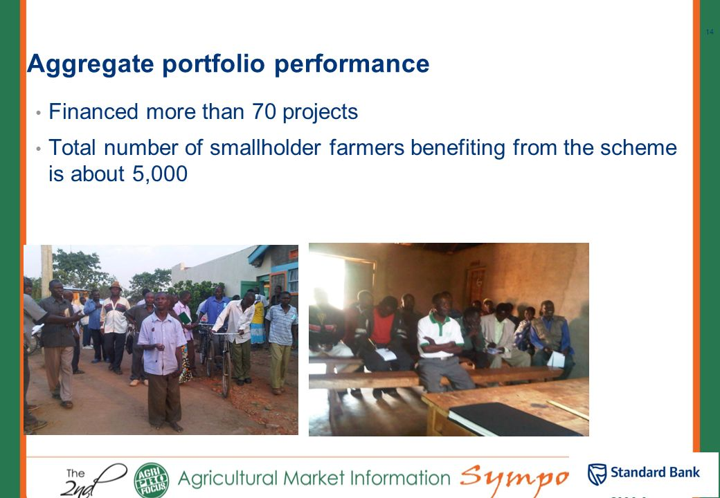 The Small holder farmer funding model: Risk sharing Partners Bank Co-ops Smallholder Farmers RSG Off-taking agreement Off-taker Technical Assistance P
