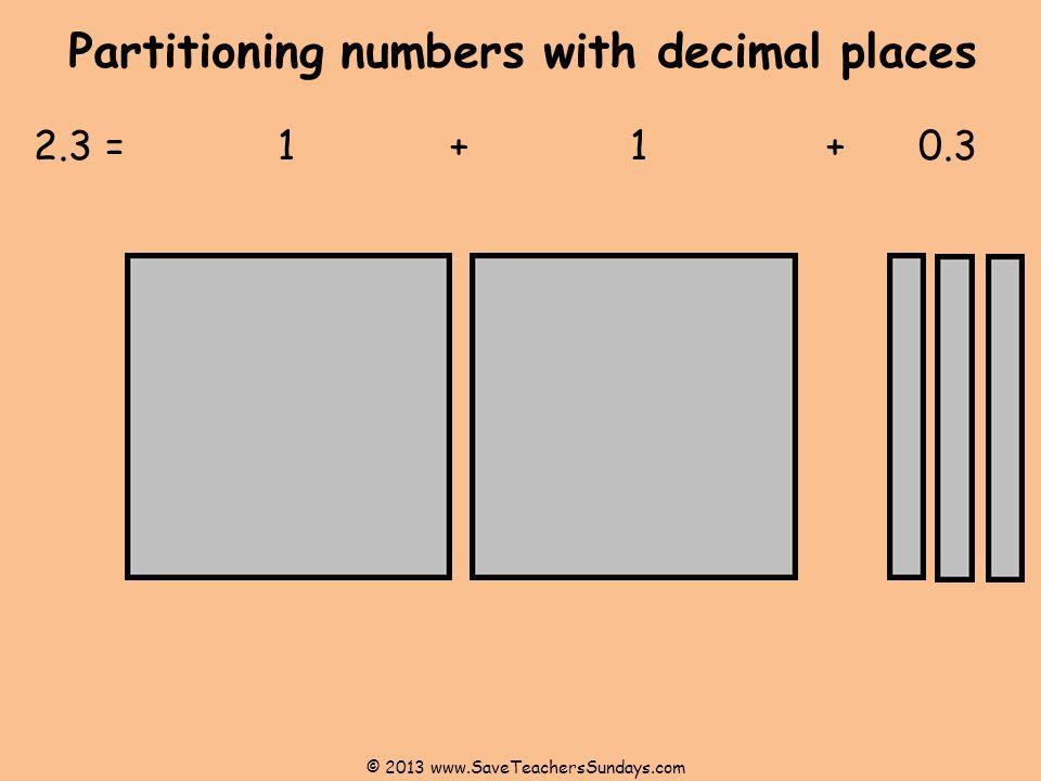 Partitioning numbers with decimal places 2.3 = 1+ 1 + 0.3 © 2013 www.SaveTeachersSundays.com