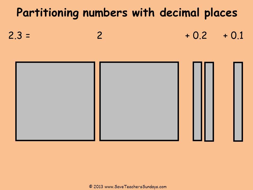 Partitioning numbers with decimal places 2.3 = 2 + 0.2+ 0.1 © 2013 www.SaveTeachersSundays.com