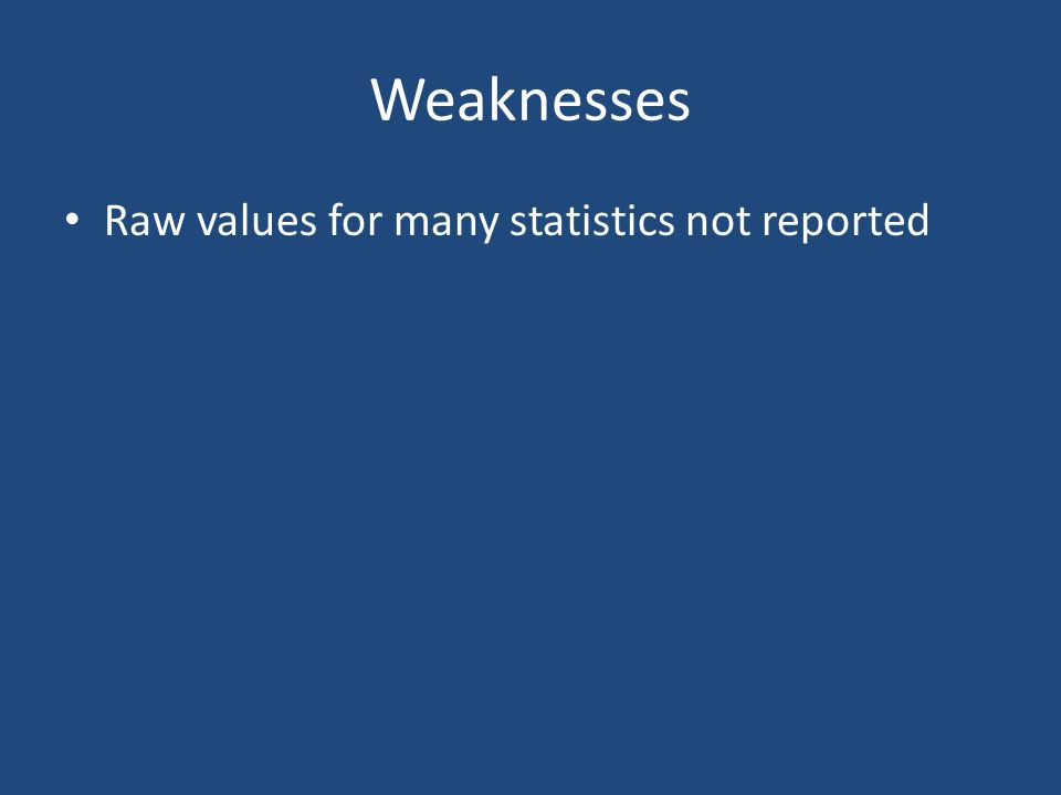 Weaknesses Raw values for many statistics not reported