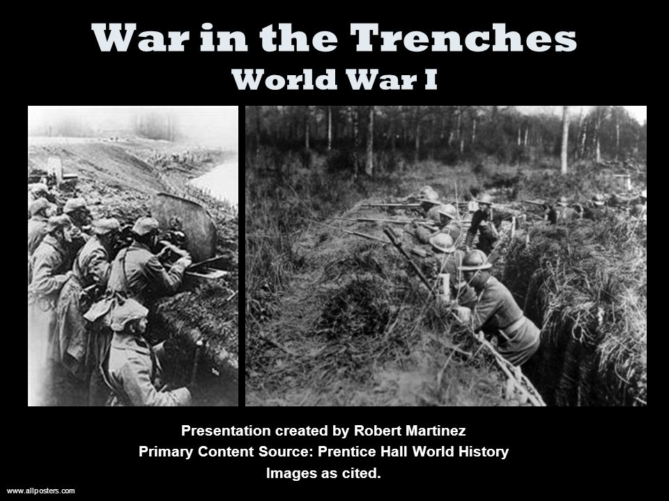 War in the Trenches World War I Presentation created by Robert Martinez Primary Content Source: Prentice Hall World History Images as cited.