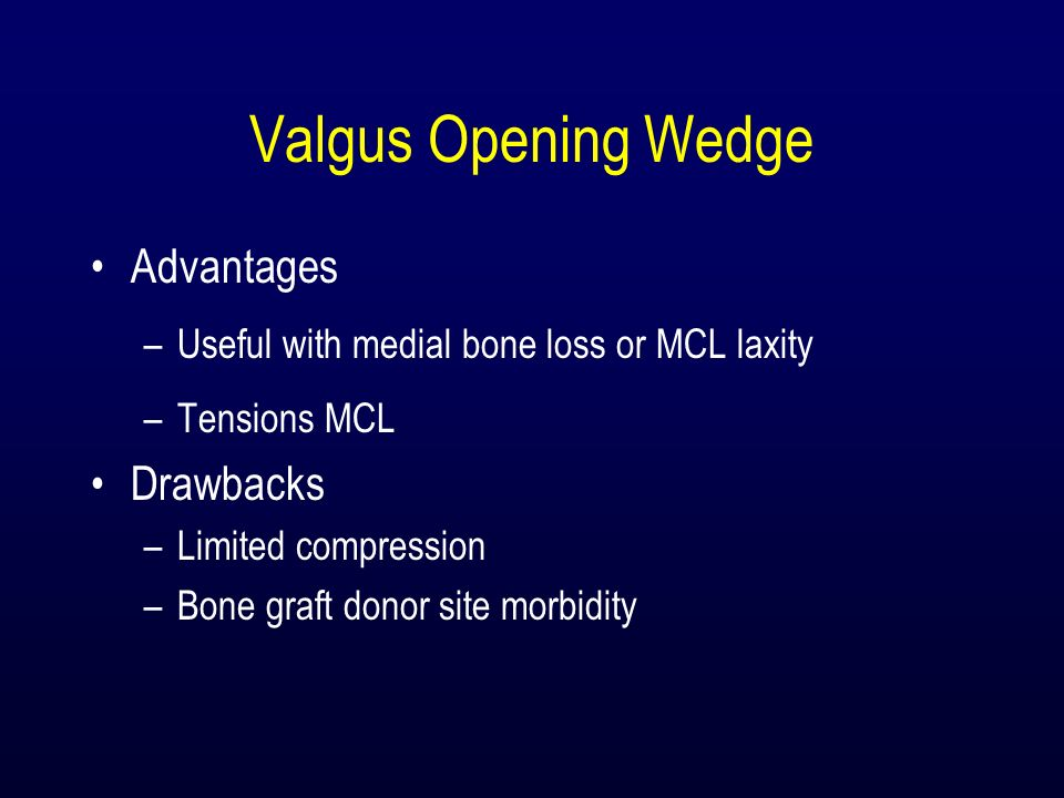 Valgus Opening Wedge Advantages –Useful with medial bone loss or MCL laxity –Tensions MCL Drawbacks –Limited compression –Bone graft donor site morbid