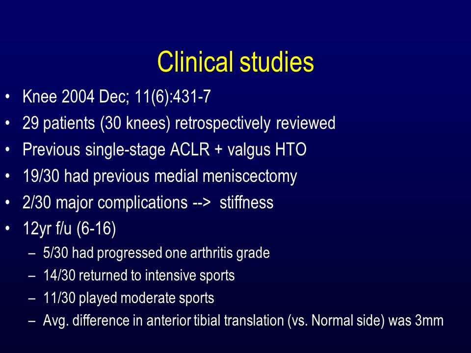 Clinical studies Knee 2004 Dec; 11(6):431-7 29 patients (30 knees) retrospectively reviewed Previous single-stage ACLR + valgus HTO 19/30 had previous