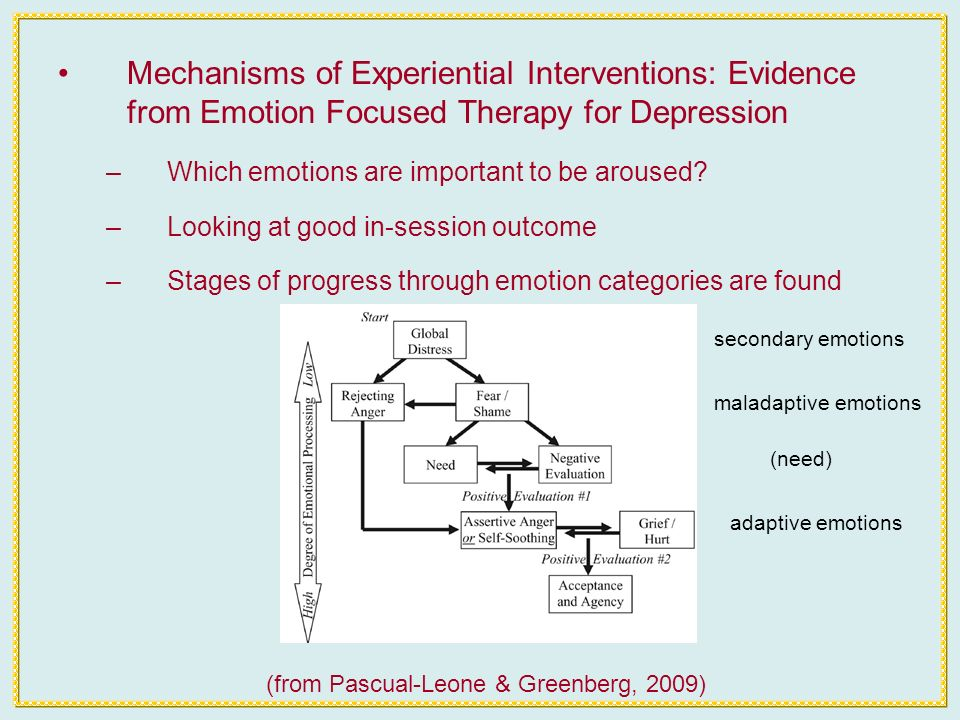 Mechanisms of Experiential Interventions: Evidence from Emotion Focused Therapy for Depression –Which emotions are important to be aroused.