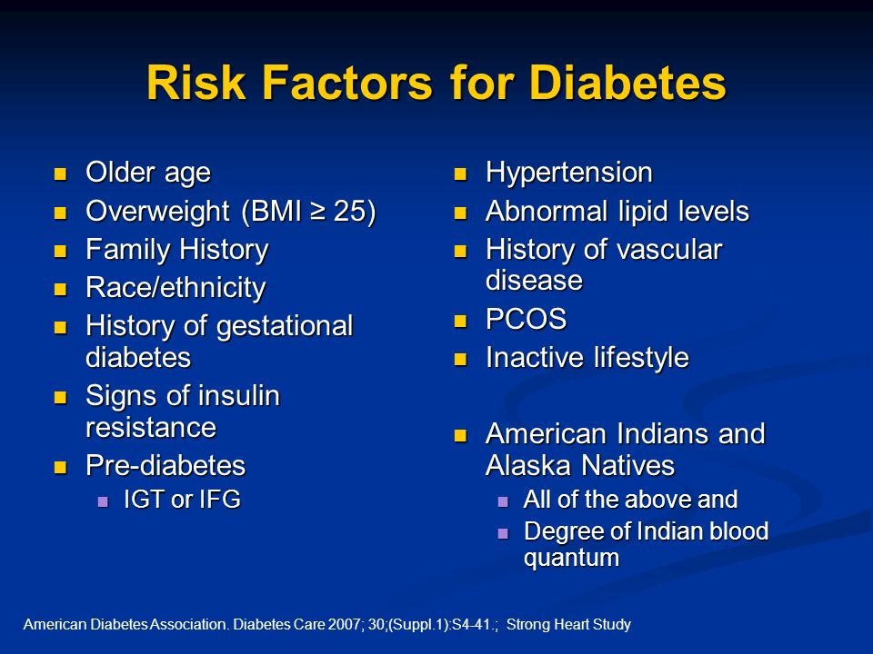 Risk Factors for Diabetes Older age Older age Overweight (BMI 25) Overweight (BMI 25) Family History Family History Race/ethnicity Race/ethnicity Hist