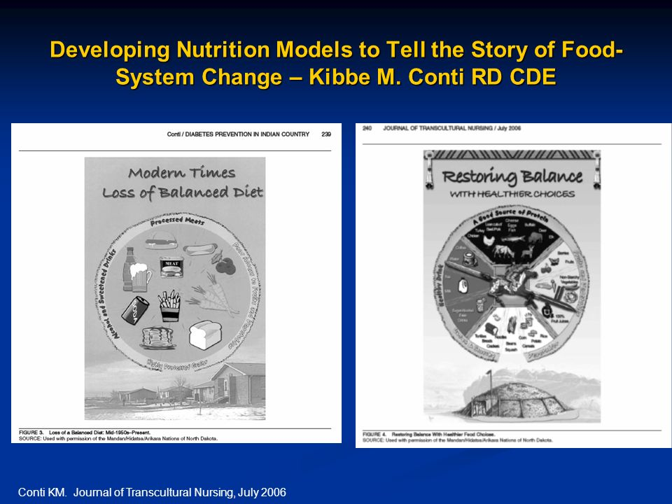 Developing Nutrition Models to Tell the Story of Food- System Change – Kibbe M. Conti RD CDE Conti KM. Journal of Transcultural Nursing, July 2006