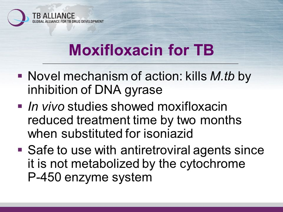 Moxifloxacin for TB Novel mechanism of action: kills M.tb by inhibition of DNA gyrase In vivo studies showed moxifloxacin reduced treatment time by two months when substituted for isoniazid Safe to use with antiretroviral agents since it is not metabolized by the cytochrome P-450 enzyme system