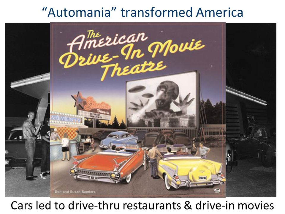 Automania transformed America Cars led to drive-thru restaurants & drive-in movies