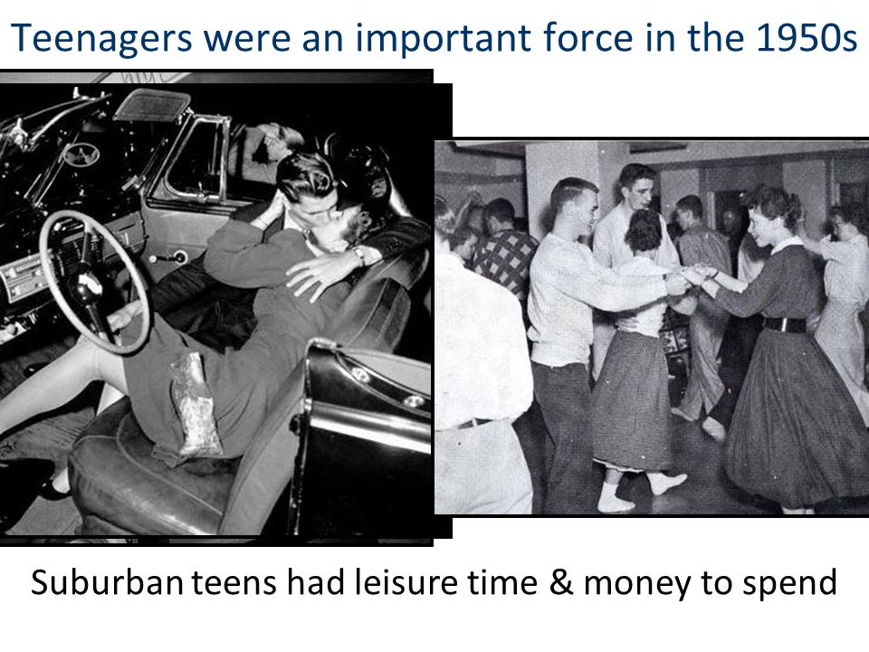 Teenagers were an important force in the 1950s Suburban teens had leisure time & money to spend