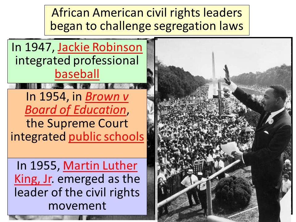 African American civil rights leaders began to challenge segregation laws In 1947, Jackie Robinson integrated professional baseballJackie Robinson bas