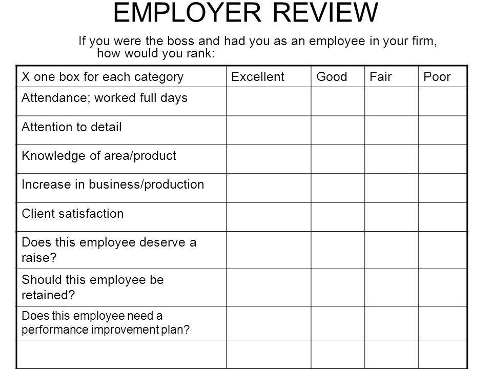 EMPLOYER REVIEW If you were the boss and had you as an employee in your firm, how would you rank: X one box for each categoryExcellentGoodFairPoor Attendance; worked full days Attention to detail Knowledge of area/product Increase in business/production Client satisfaction Does this employee deserve a raise.