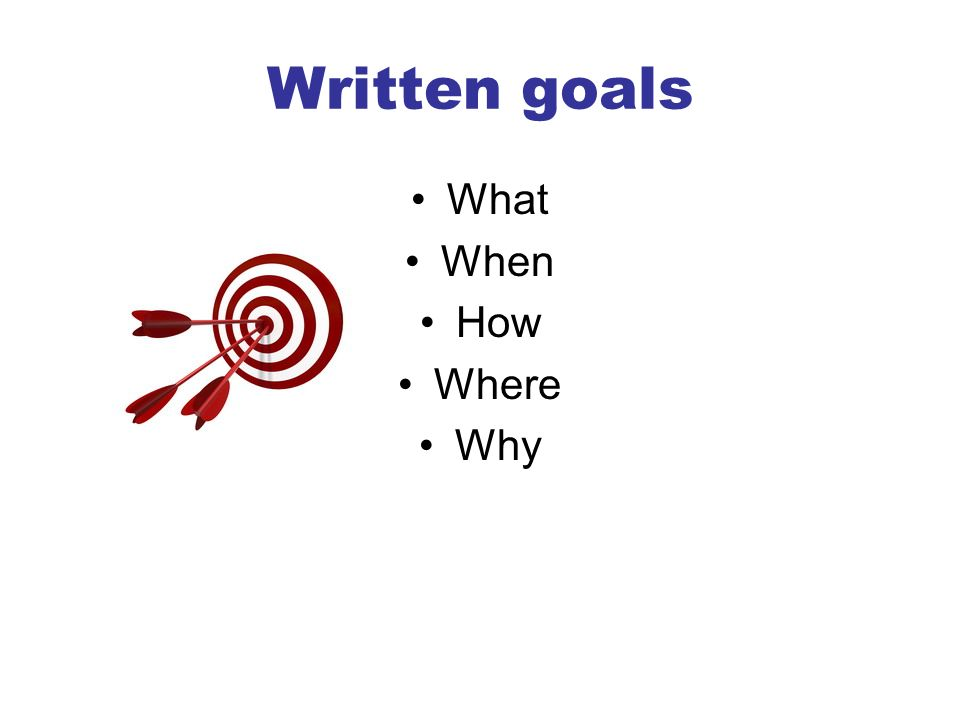 Written goals What When How Where Why