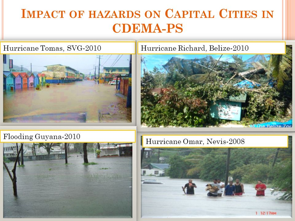 I MPACT OF HAZARDS ON C APITAL C ITIES IN CDEMA-PS Hurricane Tomas, SVG-2010Hurricane Richard, Belize-2010 Flooding Guyana-2010 Hurricane Omar, Nevis-2008