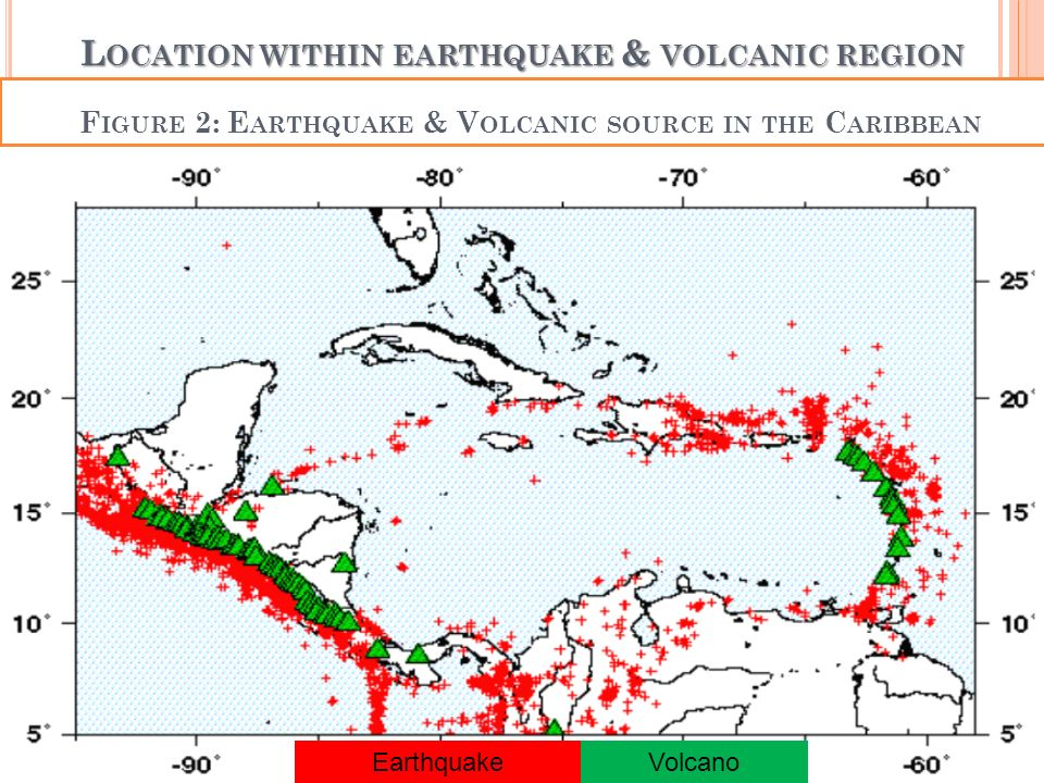L OCATION WITHIN EARTHQUAKE & VOLCANIC REGION EarthquakeVolcano F IGURE 2: E ARTHQUAKE & V OLCANIC SOURCE IN THE C ARIBBEAN