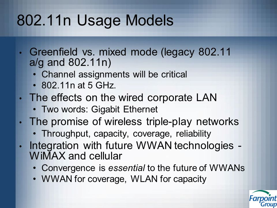 802.11n Usage Models Greenfield vs.