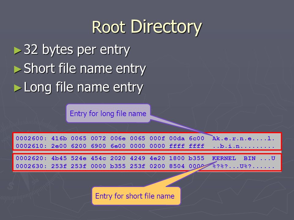Root Directory 32 bytes per entry 32 bytes per entry Short file name entry Short file name entry Long file name entry Long file name entry 0002600: 41