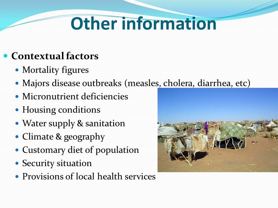 Other information Contextual factors Mortality figures Majors disease outbreaks (measles, cholera, diarrhea, etc) Micronutrient deficiencies Housing c