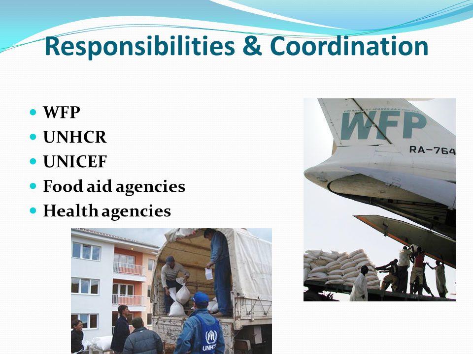 Responsibilities & Coordination WFP UNHCR UNICEF Food aid agencies Health agencies