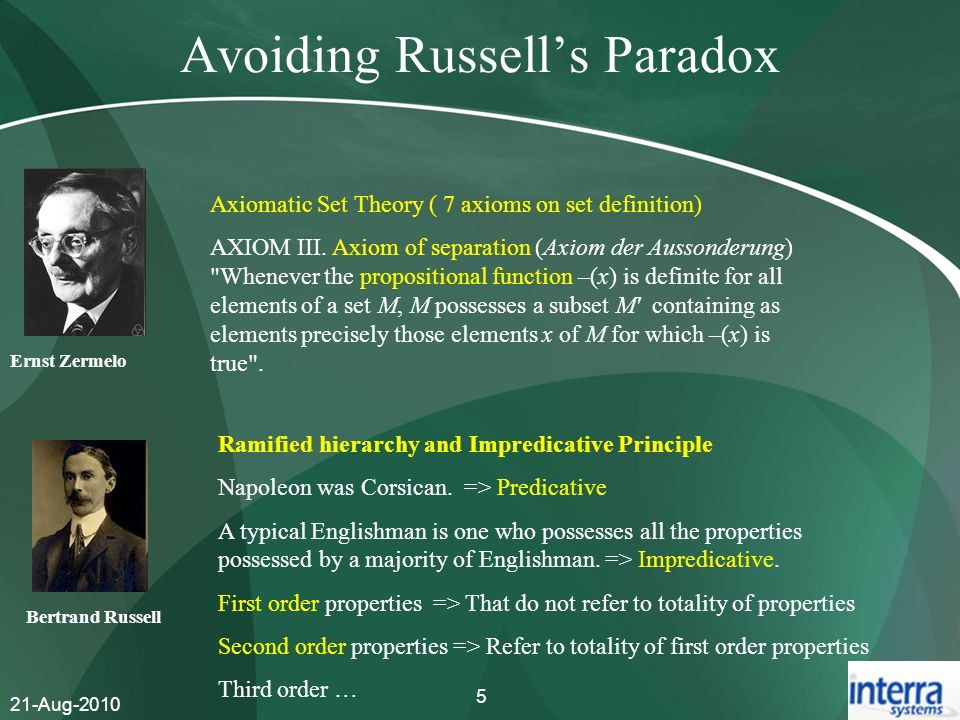 21-Aug-2010 5 Avoiding Russells Paradox Ernst Zermelo Axiomatic Set Theory ( 7 axioms on set definition) AXIOM III. Axiom of separation (Axiom der Aus