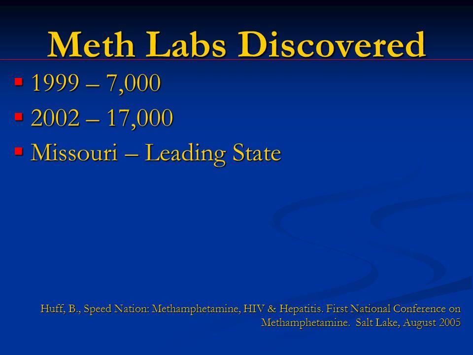 Meth Labs Discovered 1999 – 7,000 1999 – 7,000 2002 – 17,000 2002 – 17,000 Missouri – Leading State Missouri – Leading State Huff, B., Speed Nation: Methamphetamine, HIV & Hepatitis.
