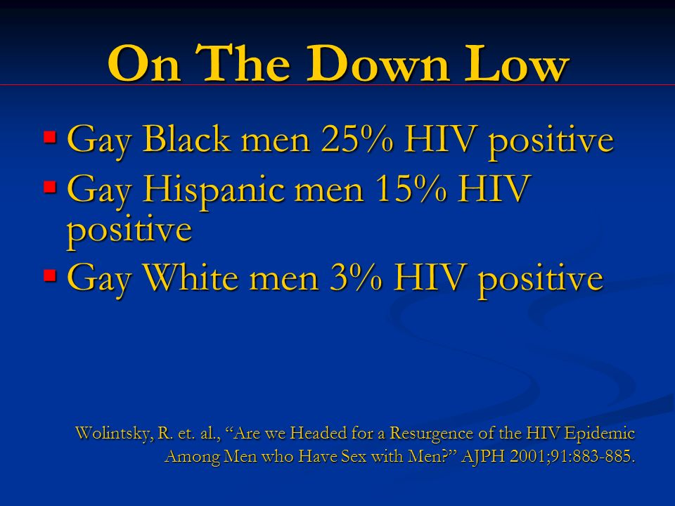On The Down Low Gay Black men 25% HIV positive Gay Black men 25% HIV positive Gay Hispanic men 15% HIV positive Gay Hispanic men 15% HIV positive Gay White men 3% HIV positive Gay White men 3% HIV positive Wolintsky, R.