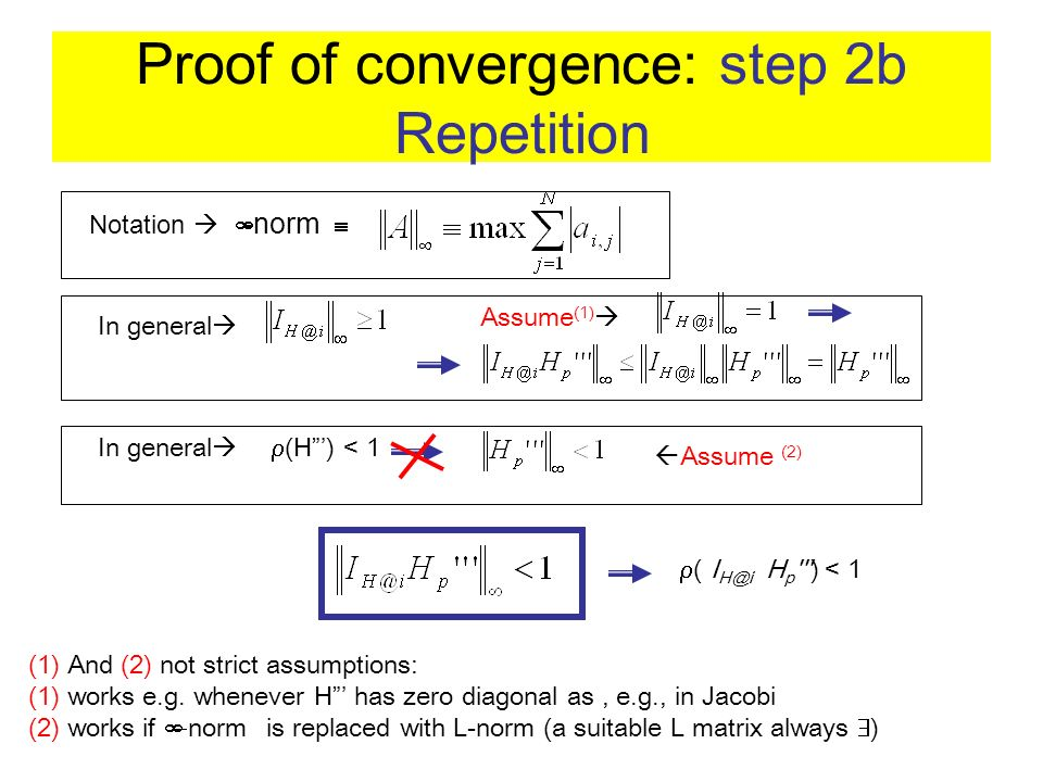 Proof of convergence: step 2b Repetition Notation -norm In general Assume (1) (1) And (2) not strict assumptions: (1) works e.g. whenever H has zero d