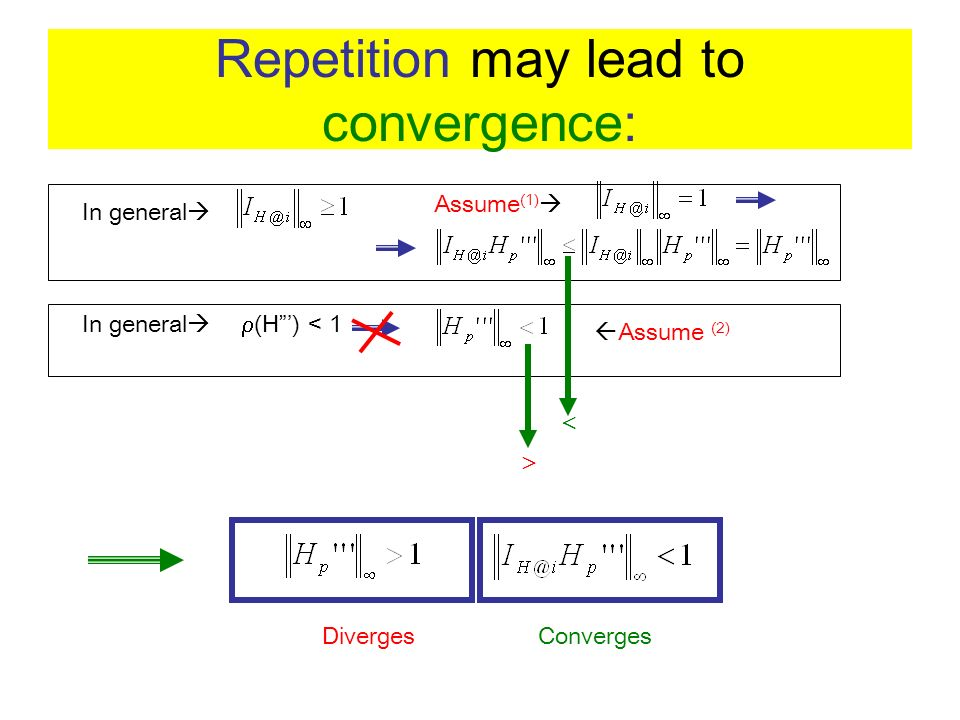 Repetition may lead to convergence: In general Assume (1) In general (H) < 1 Assume (2) DivergesConverges
