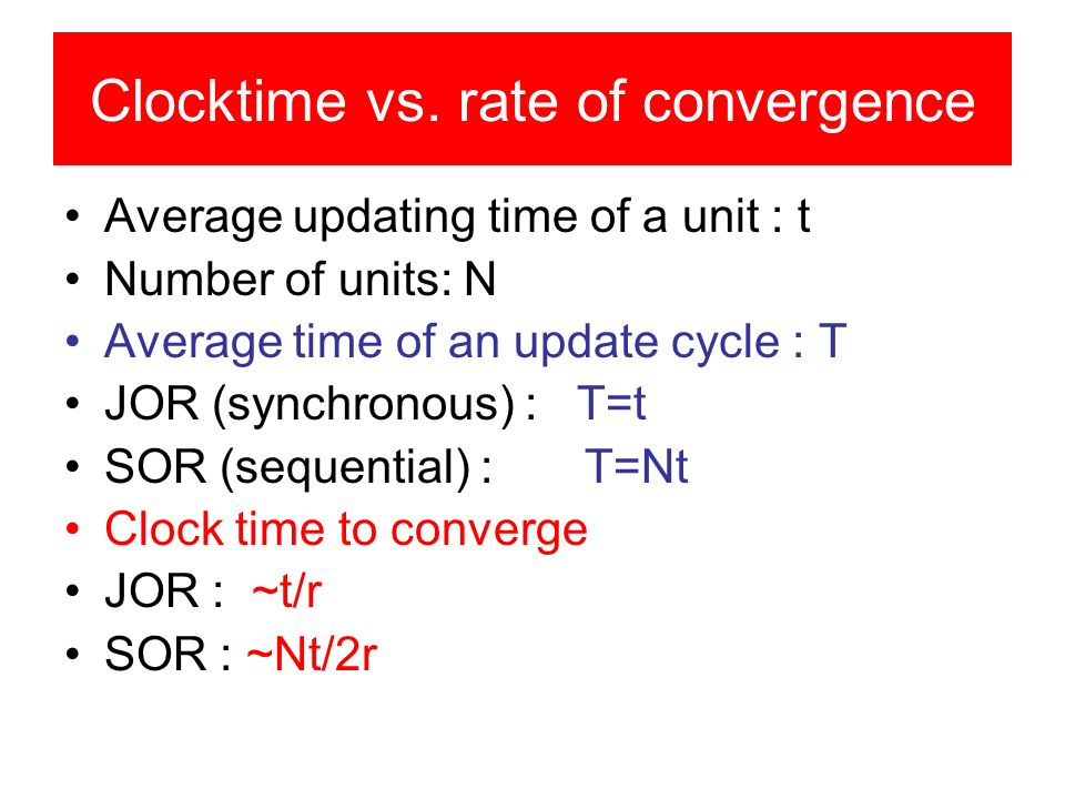 Clocktime vs. rate of convergence Average updating time of a unit : t Number of units: N Average time of an update cycle : T JOR (synchronous) : T=t S