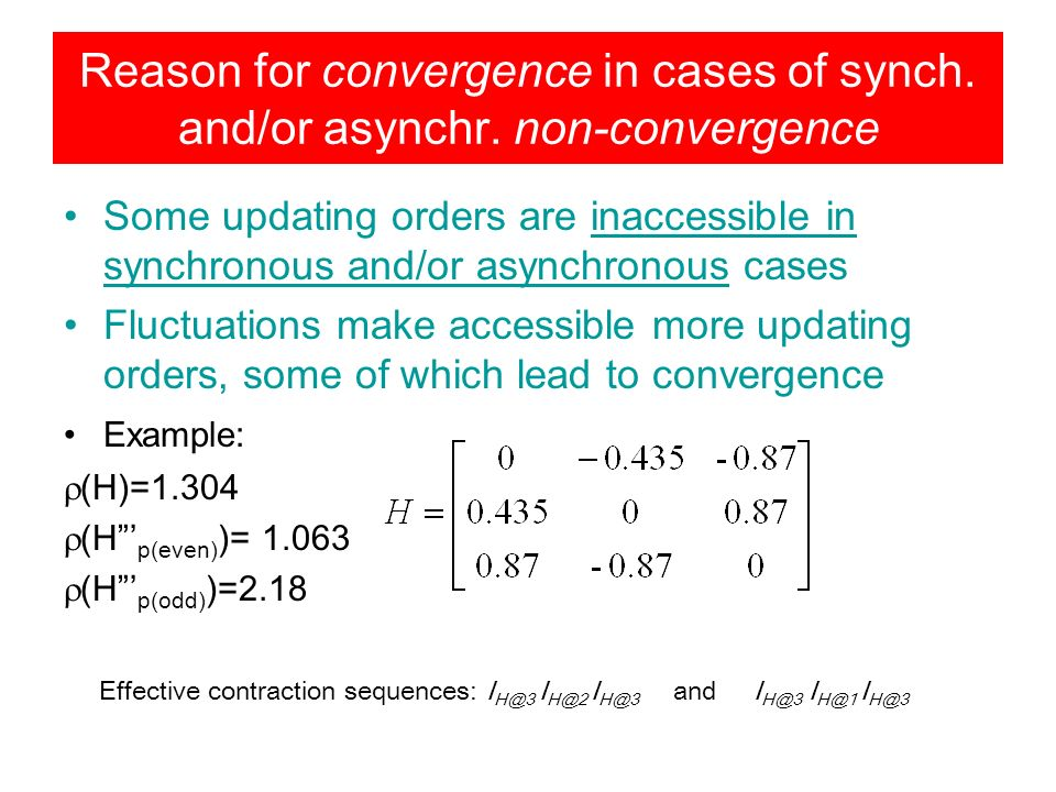 Reason for convergence in cases of synch. and/or asynchr.