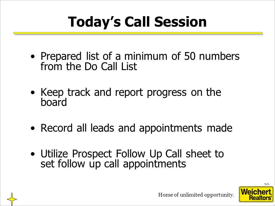 30 Home of unlimited opportunity. Todays Call Session Prepared list of a minimum of 50 numbers from the Do Call List Keep track and report progress on