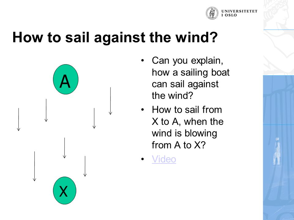 How to sail against the wind. Can you explain, how a sailing boat can sail against the wind.