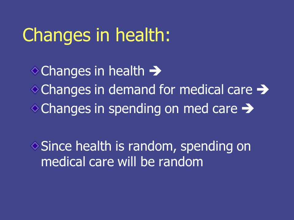 Changes in health: Changes in health Changes in demand for medical care Changes in spending on med care Since health is random, spending on medical care will be random