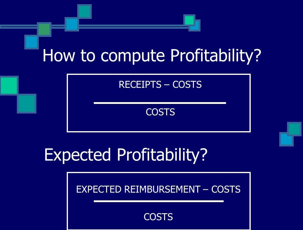EXPECTED REIMBURSEMENT – COSTS COSTS How to compute Profitability.