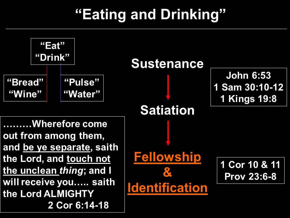 Eating and Drinking Sustenance Satiation Fellowship & Identification 1 Cor 10 & 11 Prov 23:6-8 John 6:53 1 Sam 30: Kings 19:8 Eat Drink Pulse Water Bread Wine ………Wherefore come out from among them, and be ye separate, saith the Lord, and touch not the unclean thing; and I will receive you…..