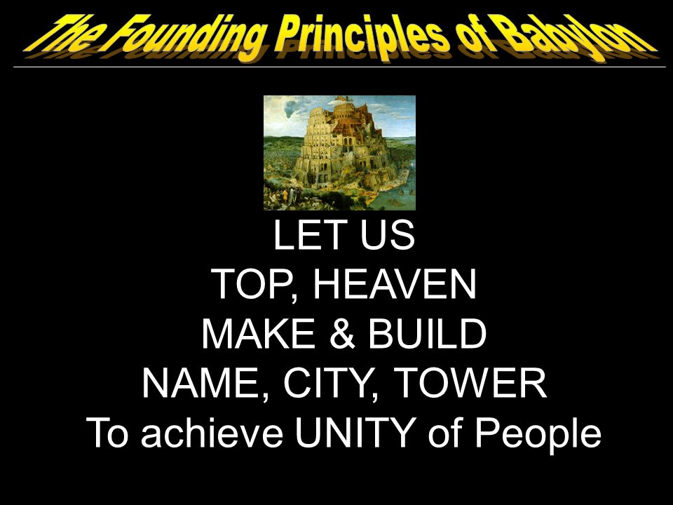 LET US TOP, HEAVEN MAKE & BUILD NAME, CITY, TOWER To achieve UNITY of People