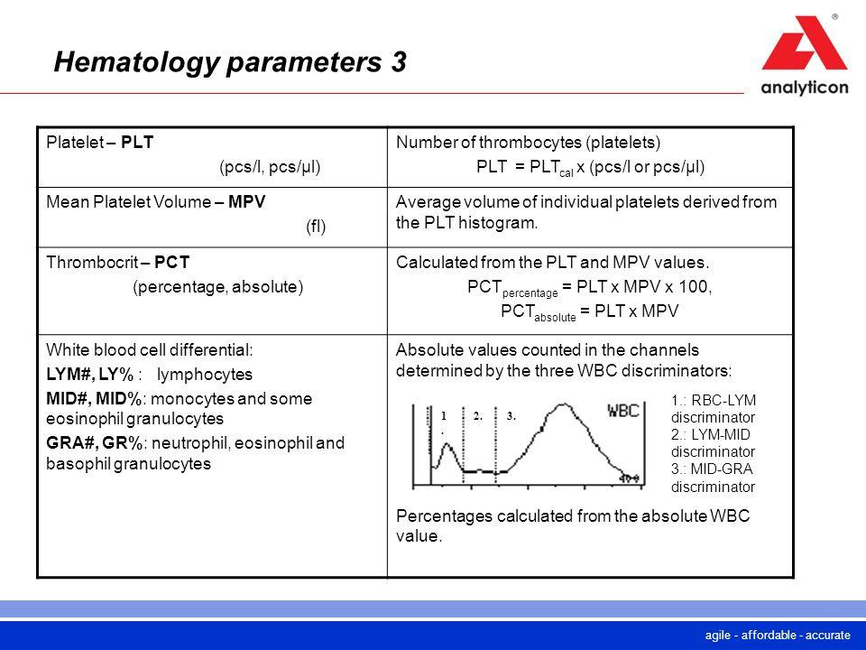 agile - affordable - accurate Hematology parameters 3 Platelet – PLT (pcs/l, pcs/µl) Number of thrombocytes (platelets) PLT = PLT cal x (pcs/l or pcs/