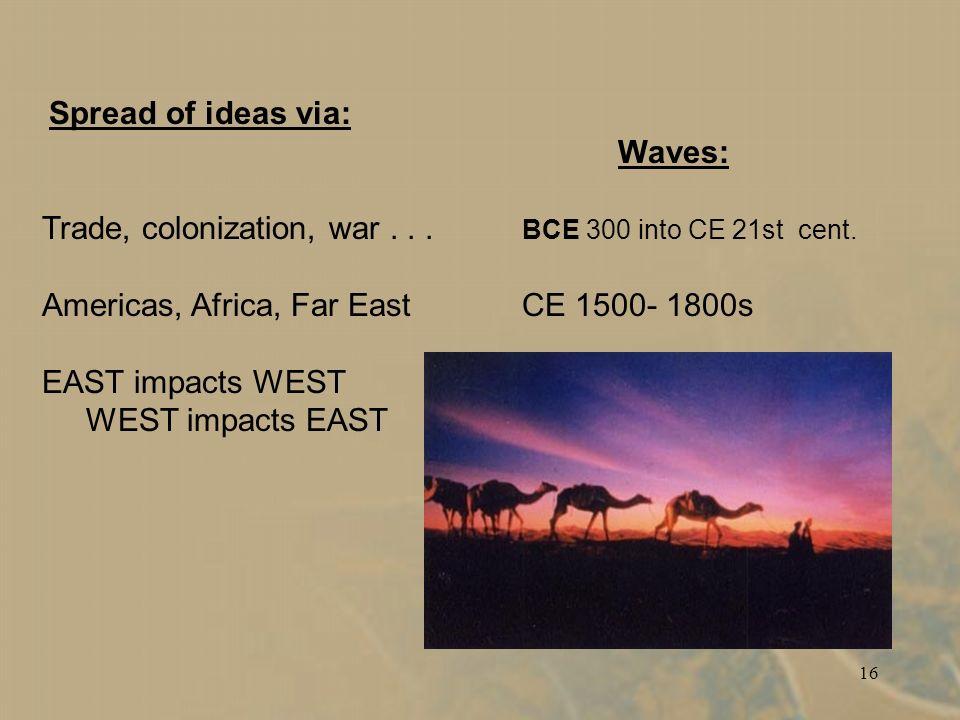 16 Spread of ideas via: Waves: Trade, colonization, war...