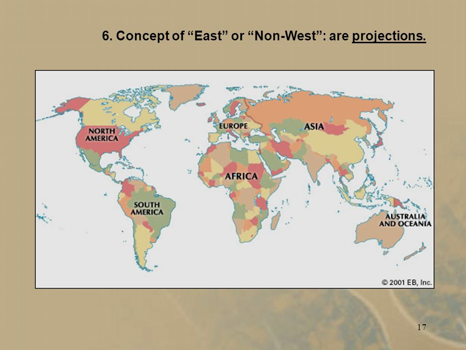 17 6. Concept of East or Non-West: are projections.