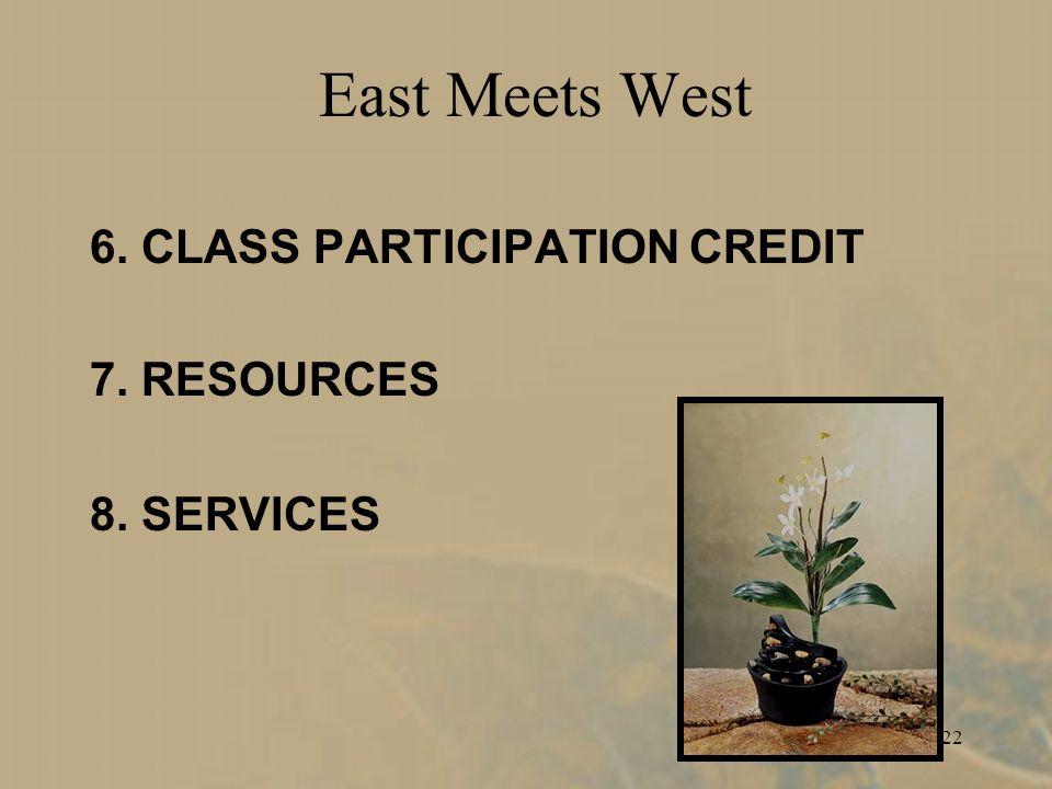 22 East Meets West 6. CLASS PARTICIPATION CREDIT 7. RESOURCES 8. SERVICES