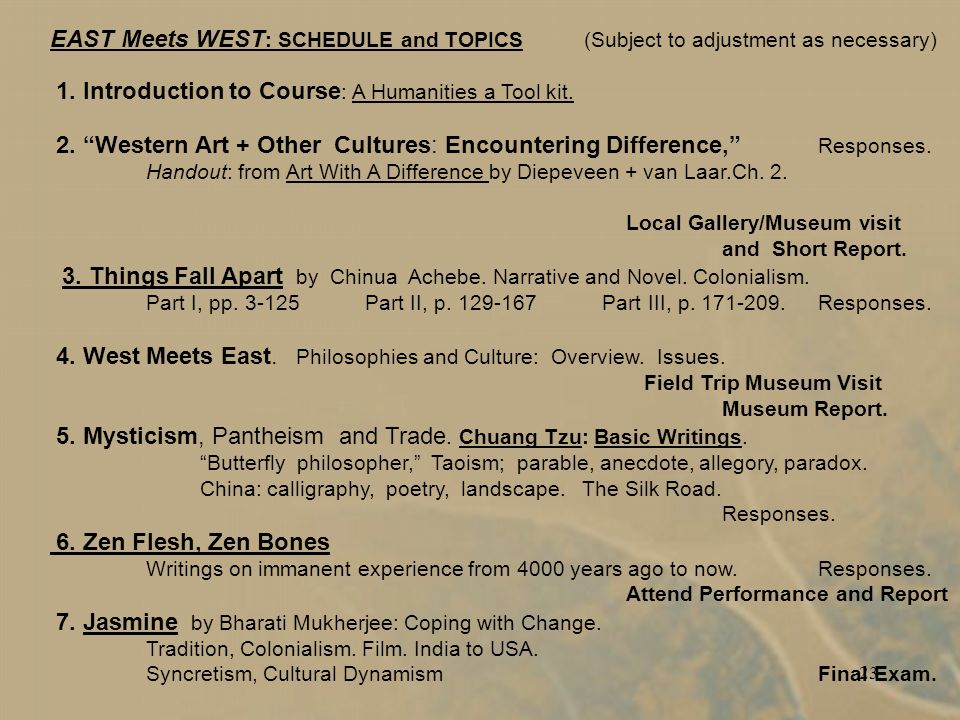 23 EAST Meets WEST : SCHEDULE and TOPICS (Subject to adjustment as necessary) 1.