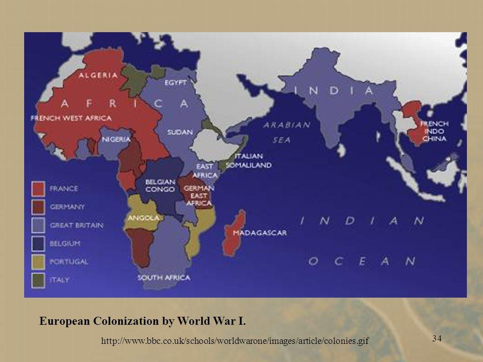 34 European Colonization by World War I.