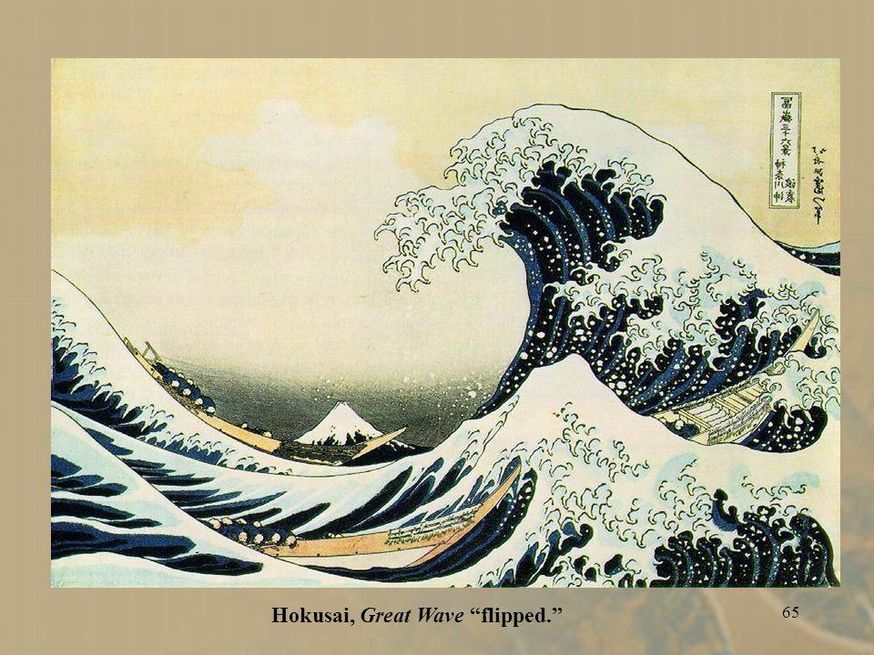 64 Hokusai (Japan), Great Wave. ca. 1831. Colored woodblock print.
